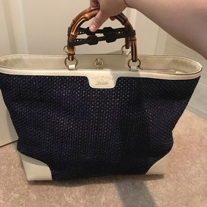 Brand New: Gucci large bamboo straw leather tote